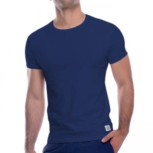 Private Structure Custom Fit Crew Neck Bodywear Short Sleeved T Shirt Navy 99-MT-1627