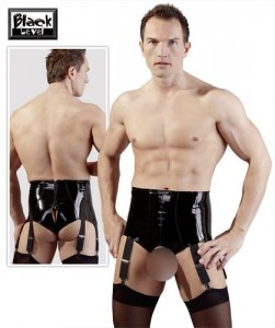Black Level Suspender High Cut Open Crotch Vinyl Pants Black 2890321