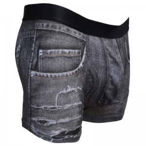 Sly Underwear Work Hard Torn Denim Boxer Brief Underwear Black BUWTND