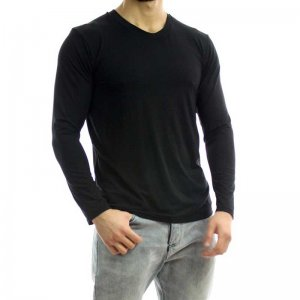 Bia Boro Basic Hybrid Scoop V Neck Long Sleeved T Shirt Bla...