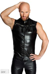 Noir Handmade Fringed Zipper Vest Muscle Shirt Sleeveless Black H040