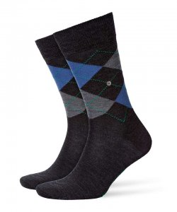 Burlington Edinburgh Socks Anthracite/Blue 21182