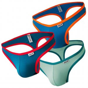 Dietz [3 Pack] Pulso Thong Underwear Green & Aqua & Blue