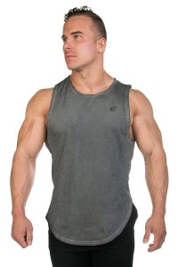 Jed North Luxe Flex Vintage Washed Muscle Top T Shirt Grey T...