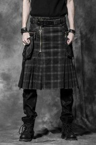 Punk Rave Gothic Plaid Kilt Black/Brown Q-225