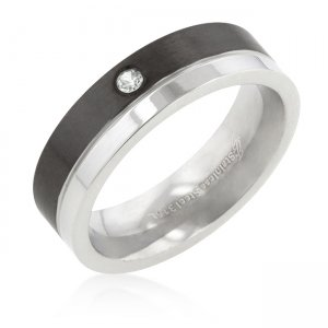 J. Goodin 6mm Two Tone Stainless Steel Slitaire Band Ring ST...