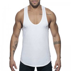 Addicted AD Flags Tape Tank Top T Shirt White AD777