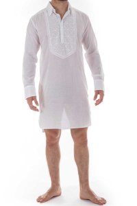 L'Homme Invisible Udai Embroidered Night Shirt Loungewear White HW143-LOU-002