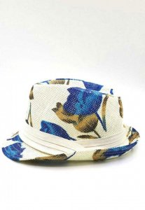 Spy Henry Lau Chic Floral Straw Hat White/Blue PH598MHT