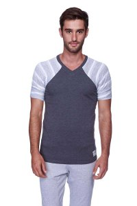 4-rth Raglan Virtual Crew Neck Stripe Short Sleeved T Shirt Charcoal/Grey/White