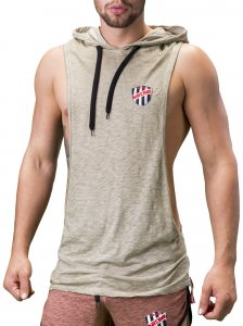 Barcode Berlin Benjy Large Armhole Hoody Muscle Top T Shirt Army 91197-1200