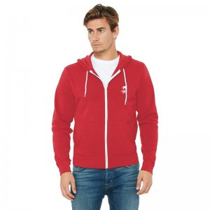 CA-RIO-CA Logotipo Zip Up Hoodie Long Sleeved Sweater Red/Wh...