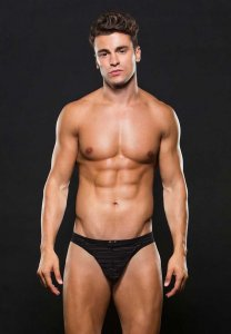 Envy Stripe Microfiber Thong Underwear Black E050