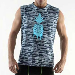 DMXGEAR Pineapple Pure Sport Muscle Top T Shirt Army Blue