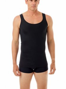 Underworks Shapewear Gynecomastia Firm Classic Body Tank Top T Shirt Black 992101