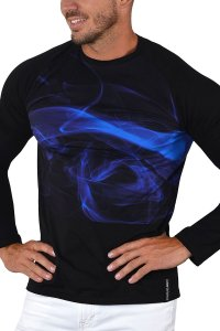 Roberto Lucca Digital Swirl Sweat Long Sleeved T Shirt Blue/Black 10259-20133