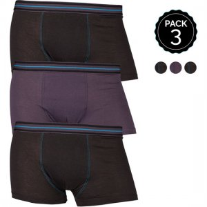 Marginal [3 Pack] Contrast Stitching Boxer Brief Underwear Black & Grey T012-4