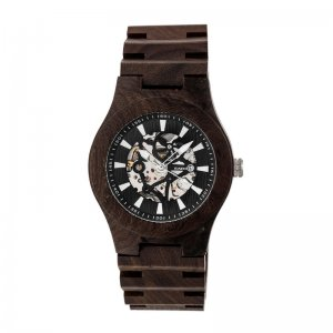 Earth Wood Gobi Automatic Skeleton Bracelet Watch - Dark Brown ETHEW4302