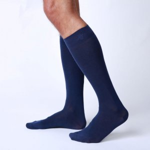 Bonne Cle Gentlemen's Club Chris High Knee Socks Dark Blue