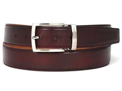 Paul Parkman Hand Painted Leather Belt Dark Bordeaux B01-DAR...