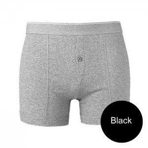 Minerva Classic Button Boxer Brief Underwear Black 21300