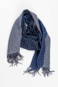 L'Homme Invisible Double Sided Reversible 100% Wool Scarf Bl...