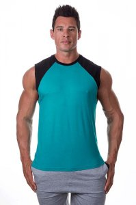 Bloke Undees Contrast Shoulder Muscle Top T Shirt Teal SRC-T