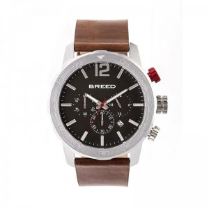 Breed Manuel Chronograph Leather-Band Watch w/Date - Silver/...