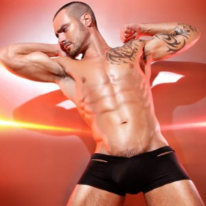 Petit-Q Enhancer & Open Back Trunk Boxer Brief Underwear Black Pq3