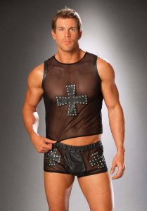 Elegant Moments Cross & Nail Head Leather & Mesh Muscle Top T Shirt Black 9284