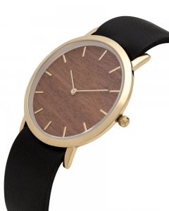 Analog Watch Classic Makore Wood Dial & Black Strap Watch GB...