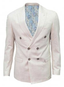 Spazio Canvas Blazer Jacket Cream BL-4718