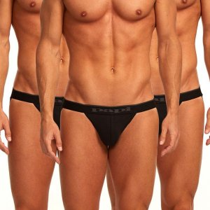 Papi [3 Pack] Cotton Stretch Jock Strap Underwear Black 980911