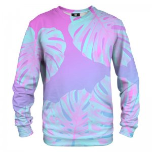 Mr. Gugu & Miss Go Monstera Leaves Pink Unisex Sweater S-PC1271