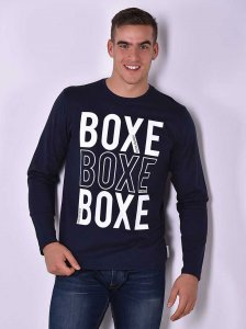 Roberto Lucca BOXE Regular Fit Long Sleeved T Shirt Navy Blu...