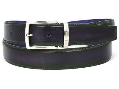 Paul Parkman Two Tone Leather Belt Green & Purple B01-GRN-PU...
