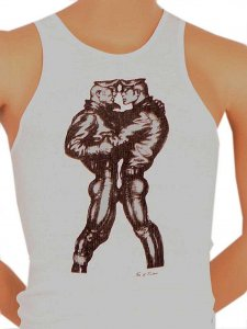 Tom Of Finland Leather Duo Tank Top T Shirt White