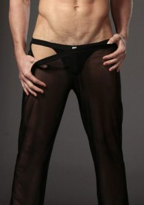 N2N Bodywear Sheer Pants Loungewear Black E5