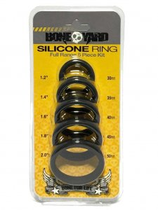 Boneyard [5 Pack] Silicone Stretch Cock Ring Kit Black BY0100