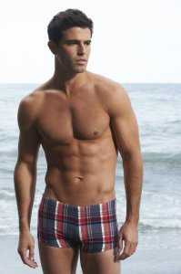Sauvage Italian Plaid Low Rise Square Cut Trunk Swimwear Navy M130
