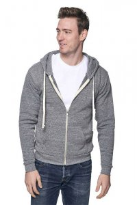 Royal Apparel Unisex Eco Triblend Fleece Full Zip Hoody Long Sleeved Sweater Eco Tri Grey 37050