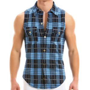 Modus Vivendi Exclusive Muscle Shirts Sleeveless Blue 12932