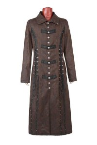 Punk Rave Steampunk Lacing Long Gothic Unisex Coat Coffee Y-...