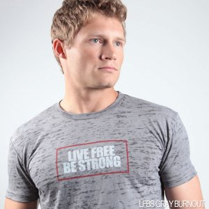Live Free Be Strong Burnout Short Sleeved T Shirt Grey