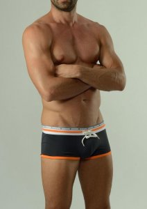 Geronimo Square Cut Trunk Swimwear Black/Orange 1626B2-1