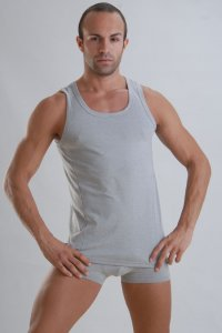 Geronimo Vest Tank Top T Shirt Grey Bamboo 959T1