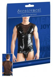 Svenjoyment Lacing Front Powernet Wetlook Muscle Top T Shirt Black 2160927