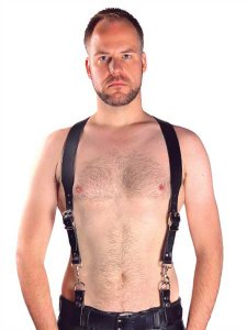 Mister B Leather Premium Combi Harness Braces Black 601011