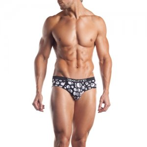 Excite Premier Skull Print Cotton Blend Brief Underwear Blac...