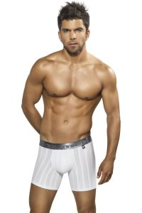 Xtremen Stripe Microfiber Boxer Brief Underwear White 51317